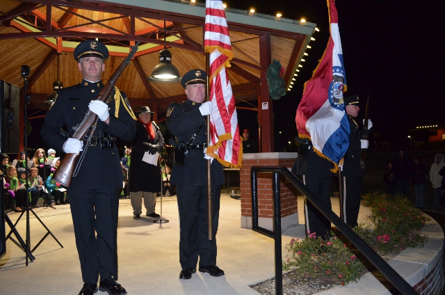 The St, Charles County Color Guard at the Salvation Army Tree of Lights Kick Off event on Saturday evening, November 21st 2015 at Dardenne Prairie City Hall